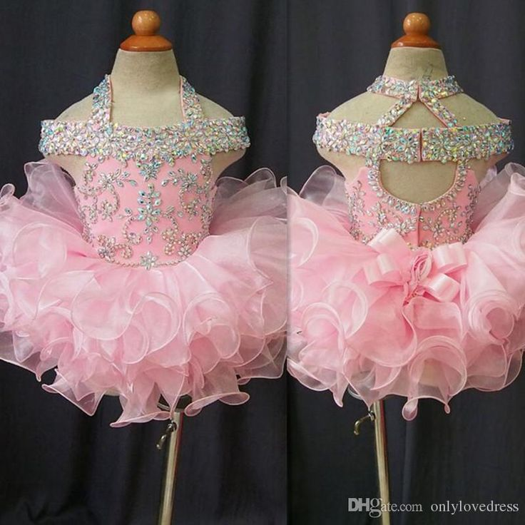 2016 Toddler Pageant Dresses Pink Organza Cupcake Kids Prom Gowns Crystal Beaded Open Back With Bow Formal Little Girls Birthday Party Dress