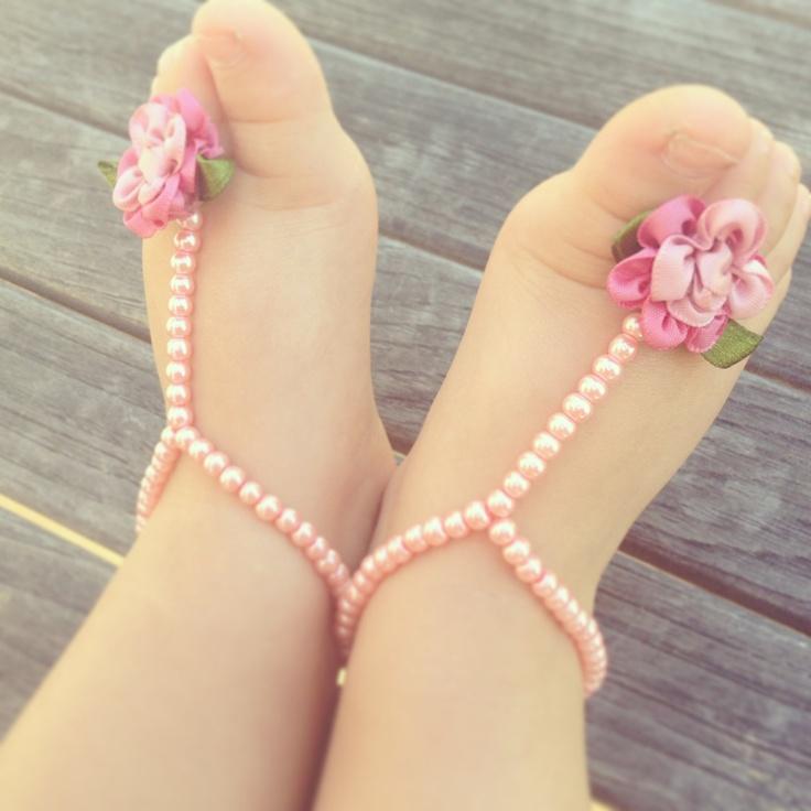 Baby barefoot sandals, baby shower gift, baby girl, baby bracelet, baptism, new baby gift, flower girl, summer baby, pink flower baby,. $19.99, via Etsy.