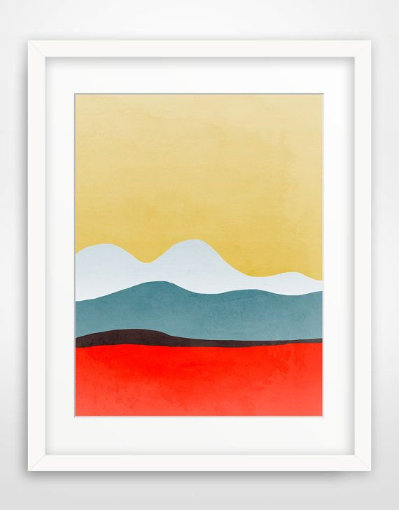 Large Wall Art, Mid Century Modern, Abstract Art, Minimalist Poster - Red and yellow