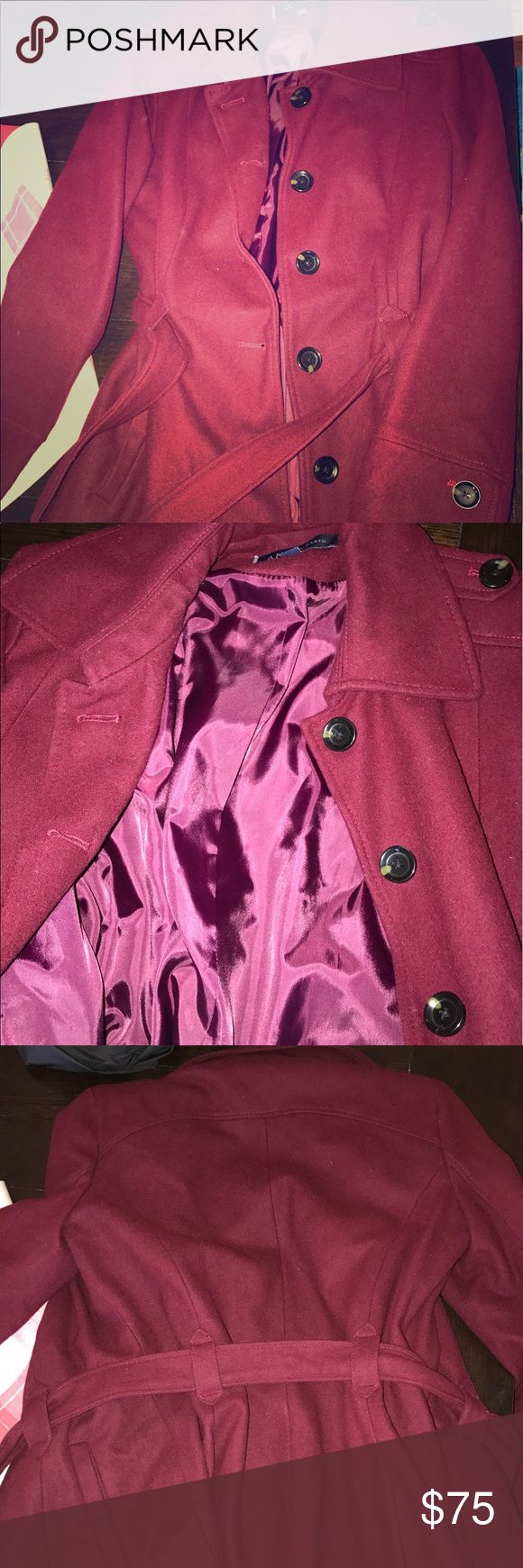 Red down coat AKanneklein ladies size L, long, down button coat. Comes with belt. In great condition, looks brand new! AKanneklein Jackets & Coats