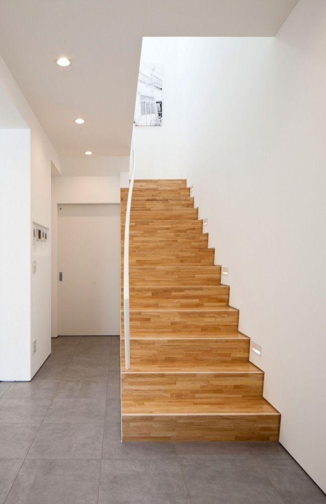 modernes haus rck design japan treppen holz einbauleuchten