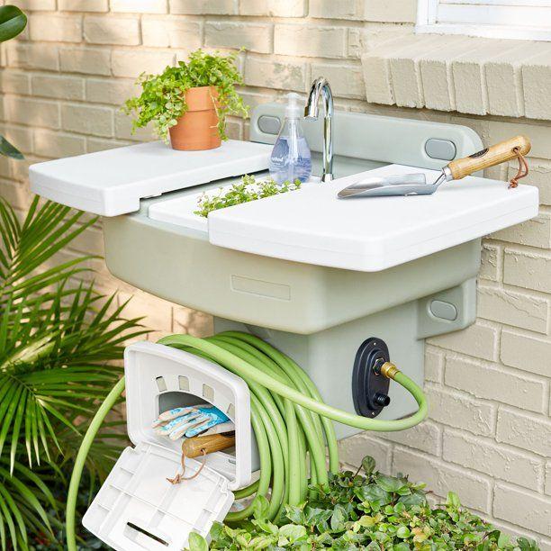 Brylanehome Outdoor Garden Sink With Hose Holder Reel Potting Station White Walmart Com Garden Sink Outdoor Garden Sink Outdoor Sinks