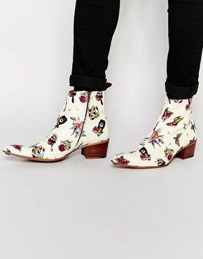 Jeffery West Zip Cuban Heel Boots