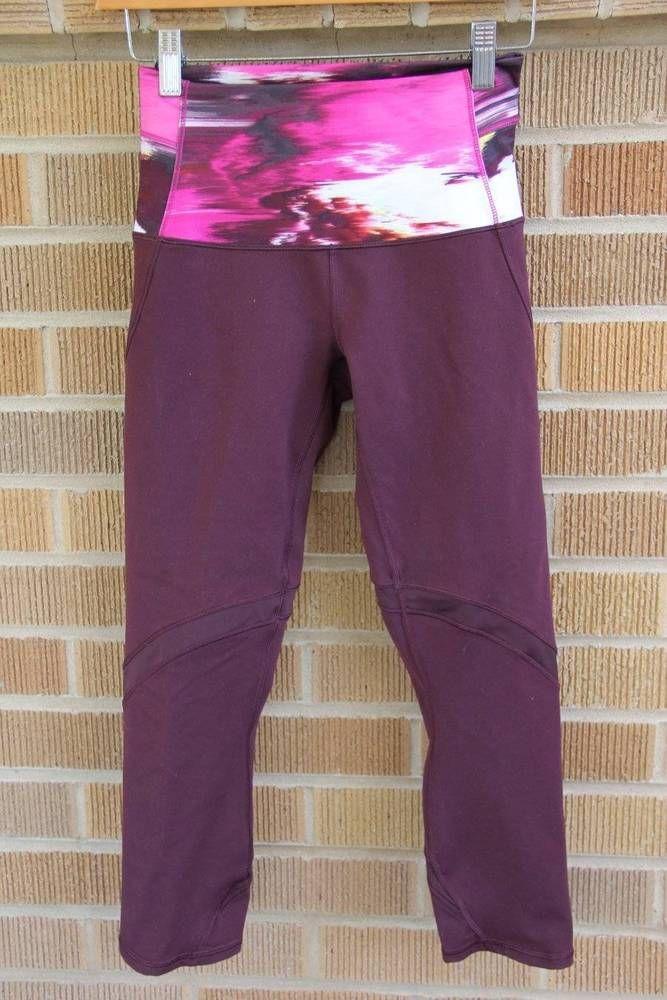 Lululemon~Hi-Rise Crop Legging~Wind Berry Rumble/Bordeaux~4~$88 *SOLD OUT ONLINE #Lululemon #PantsTightsLeggings