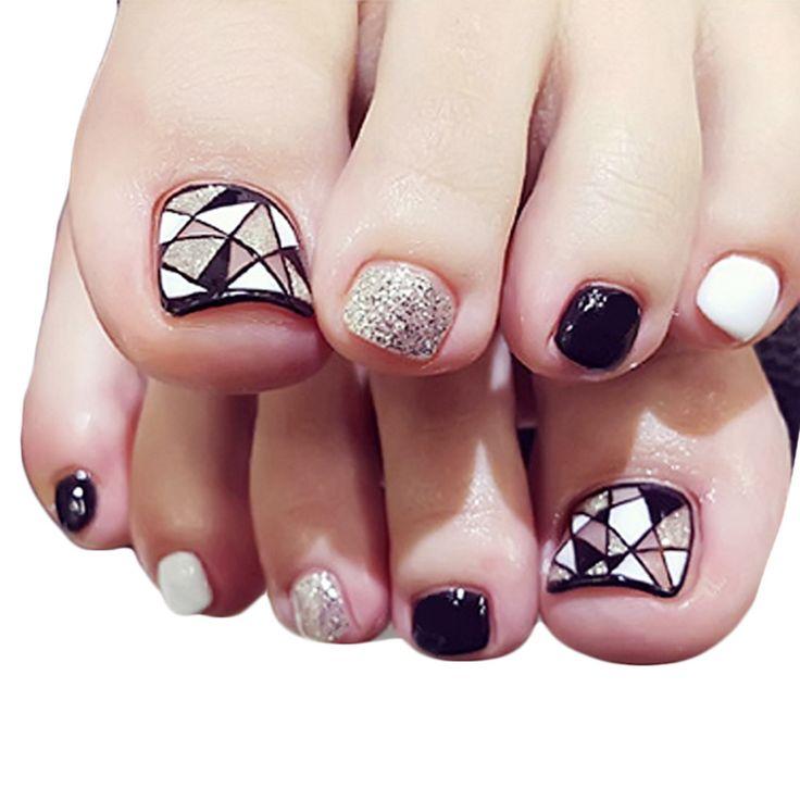 False nails, Buy Quality nail foot directly from China nail false Suppliers: 24pcs Nail Stickers Tips Patches False Nails Foot Toenail Tablets DIY Nail Art Tools Accessories Manicure Salon Decor Nail Glue