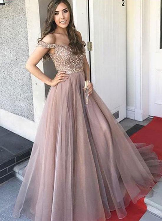 138fef6fce5c Champagne tulle off shoulder long prom dress, formal dress | Her ...