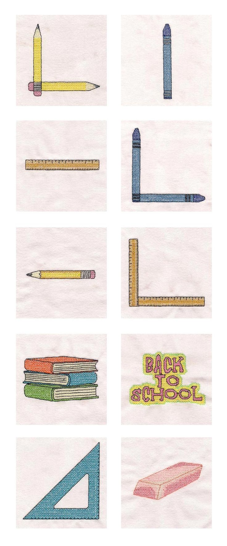 Back to School Cross Stitch Embroidery Machine Design Details