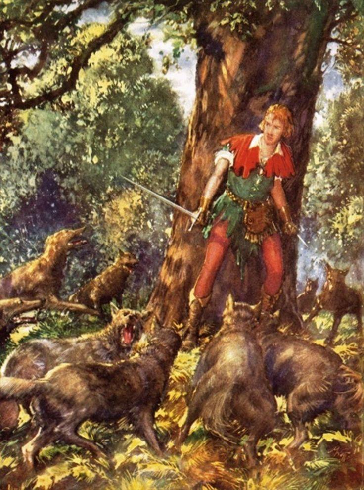 Robin Hood Trapped by Wolves by John Millar Watt.