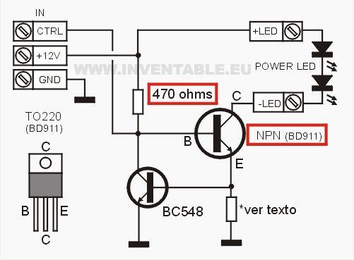 Circuito Del Driver Para Leds Con Un Transistor Electr 243 Nica