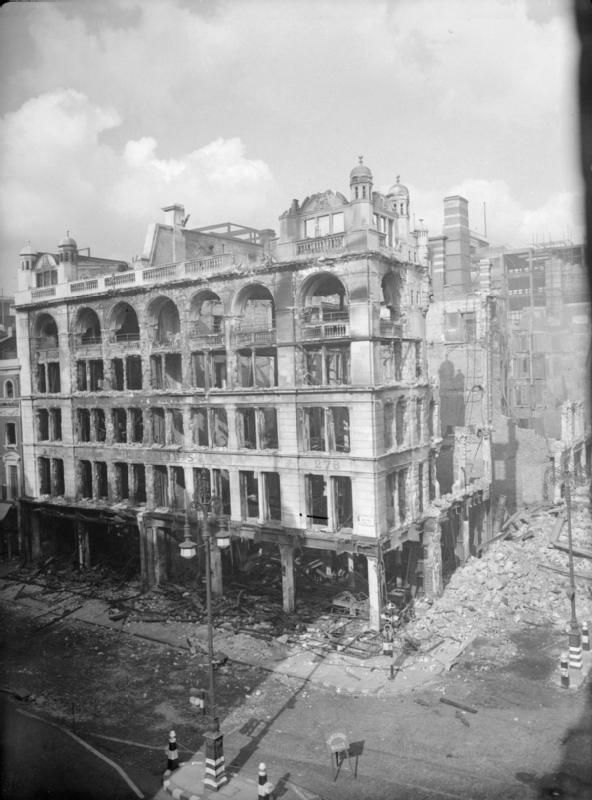 A wide view of the bomb-damaged shell of the John Lewis department store on London's Oxford Street, following an air raid in September 1940.