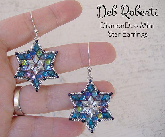 Diamonduo Mini Star Earrings Free Pattern Seed Bead Tutorial
