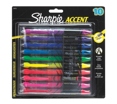 Sharpie Accent Liquid Pen-Style Highlighters, 10 Assorted Highlighters