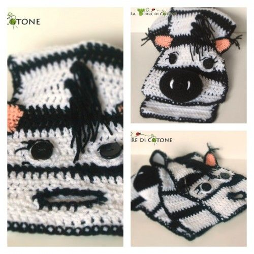 Schema free to create an original crochet scarf in the shape of zebra