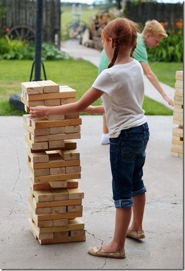 GIANT Jenga- talk about a fun addition to a cook out or BBQ! LOVE this idea!