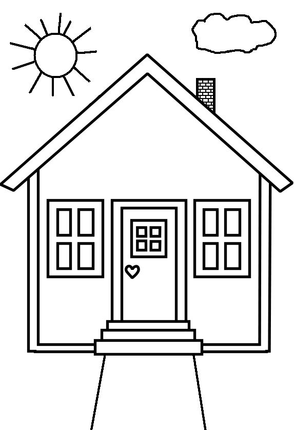 Simple House Coloring Page Easy house coloring pages for preschoolers ...