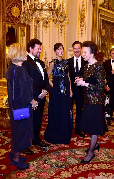 (L-R) Victoria Wood, Michael Ball, Sophie Hunter, Benedict Cumberbatch talk with Princess Anne, Princess Royal as they attend a reception and dinner in support of Motor Neurone Disease Association at Buckingham Palace on 10.03.2015 in London, UK.