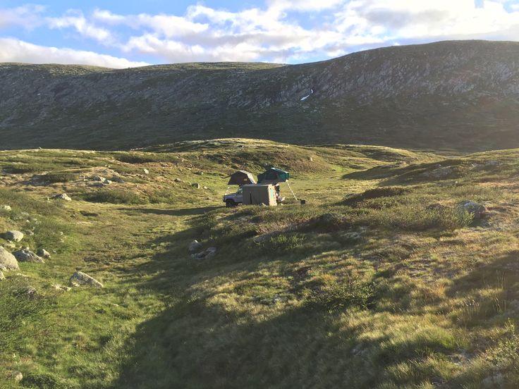 Defender 130 HCPU wild camping on the Hardangervidda Norway