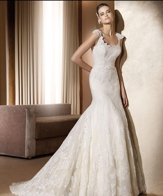 Organza pure vierkante hals met sexy slanke rok mode moderne trouwjurken