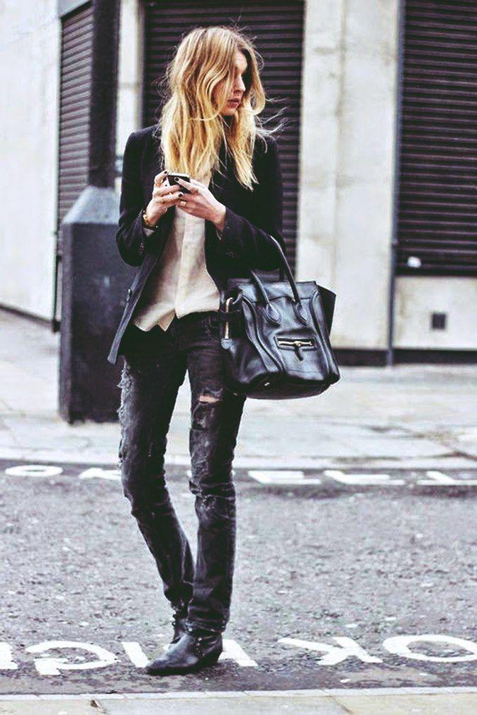 siyah yırtık kot pantolon jeans