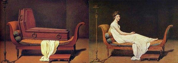 """© Фото: Рене Магритт/Жак Луи Давид  Рене Магритт. """"Перспектива мадам Рекамье Жерара"""". 1950 / Жак Луи Давид. """"Портрет мадам Рекамье"""". 1800"""