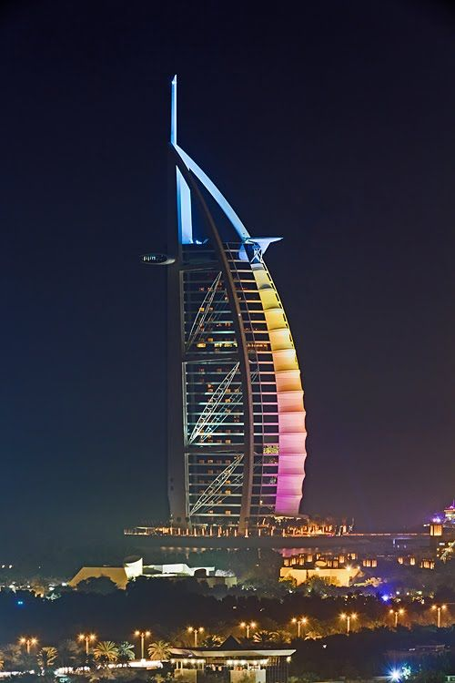 Burj al Arab in rainbow colours. Dubai -  by funtor