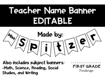 EDITABLE Teacher Name Banner FREE FOR 24 HOURS!