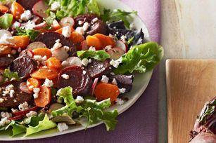 Salade de betteraves et de carottes rôties