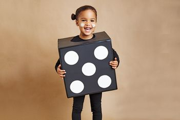 Cardboard Box costumes: dice, rubik's cube, crayon box, juice box, etc.