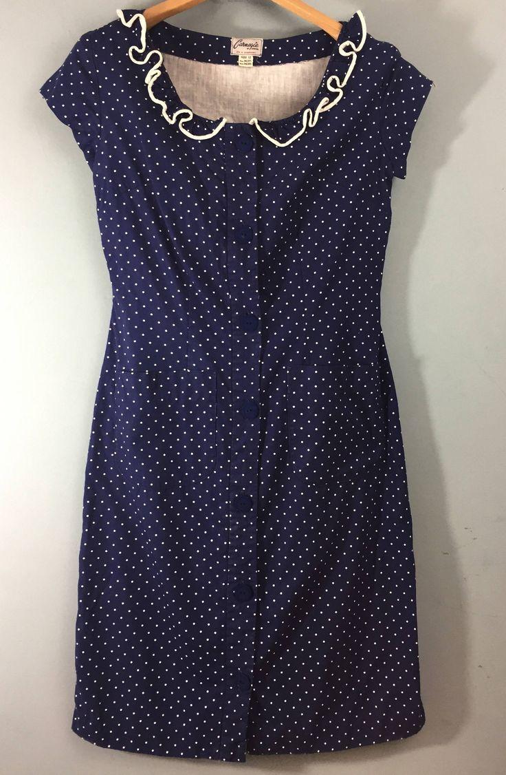 Vintage 1960s CARNEGIE blue white polka dot shift dress UK 10/12 ruffled neckline by Bluetwinklecat on Etsy