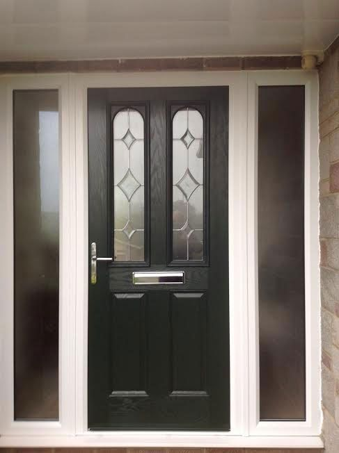2 Panel 2 Arch Crystal Diamond Composite Front Door in Black with Two Side Panels #exterordoorstyles