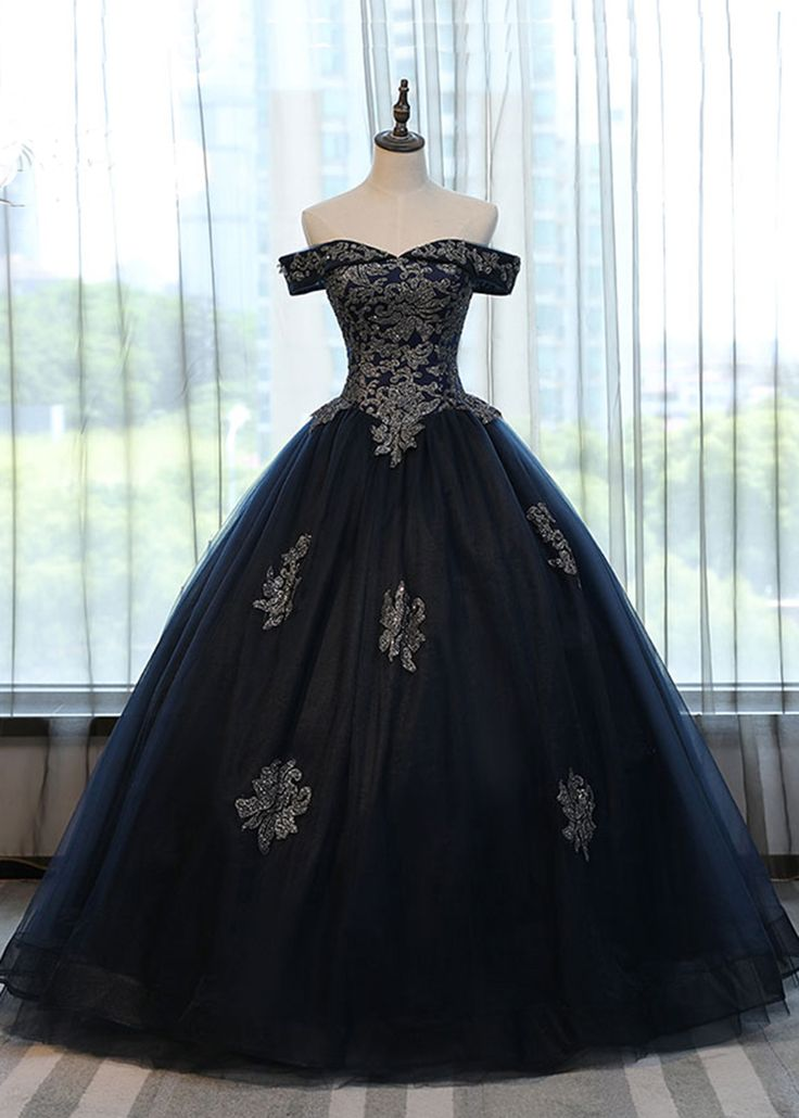 Navy blue tulle lace up long formal evening dress, off shoulder prom gown wedding dress