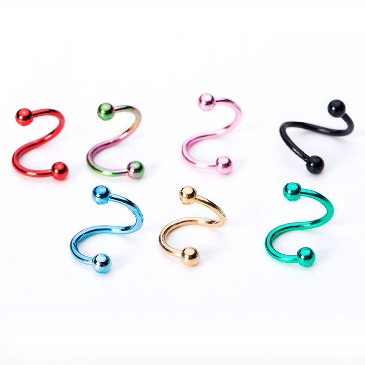 Free shipping 2pcs 16G Stainless Steel Spiral Twisted Rings lip ear ring s labret ear black ear piercing jewelry XL15023 ...