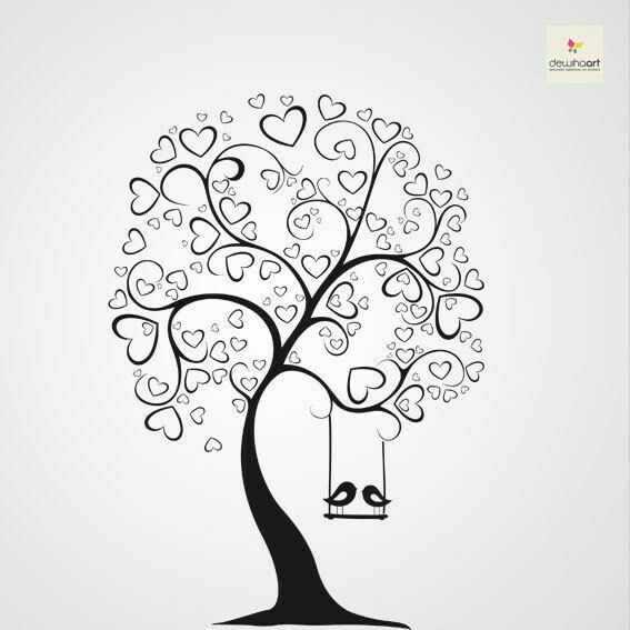 Drawing Trees|Silhouette Heart Tree|-- I fell in love with this cute tree when I saw it, and it looks great as is or if you decide to add some color.