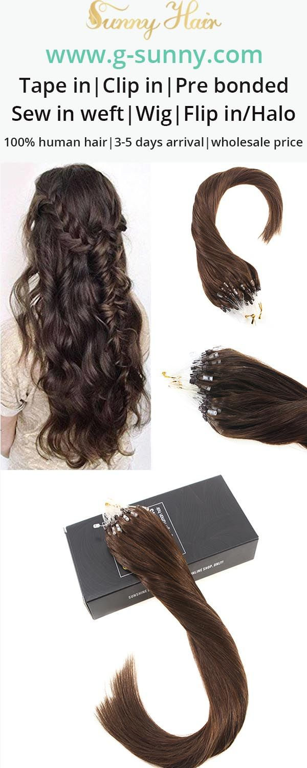 Sunny Hair 100% remy human hair extensions, micro ring human hair extensions. Dark brown color hair. Factory directly selling with wholesale price. www.g-sunny.com