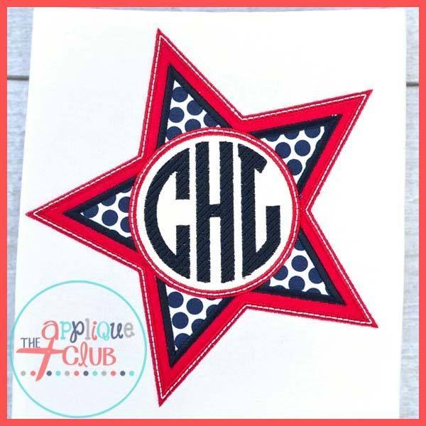 Monogram Star Design From The Applique Club Www Theappliqueclub Com Monogram Club Design Applique
