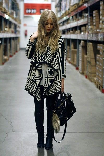 fall outfit look I love Aztec!!!!!