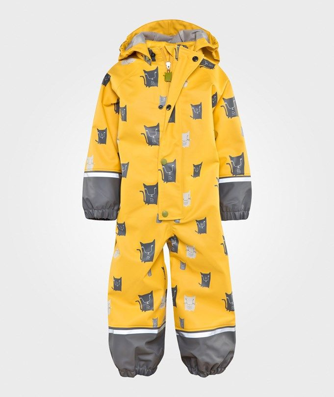 Kattnakken Rain Suit Yellow Cat Gul Med Katter - 1