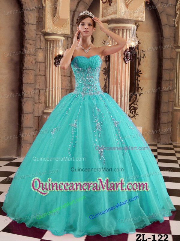 2014 Fashionable Organza Turquoise Quinceanera Dresses with Beading and Appliques