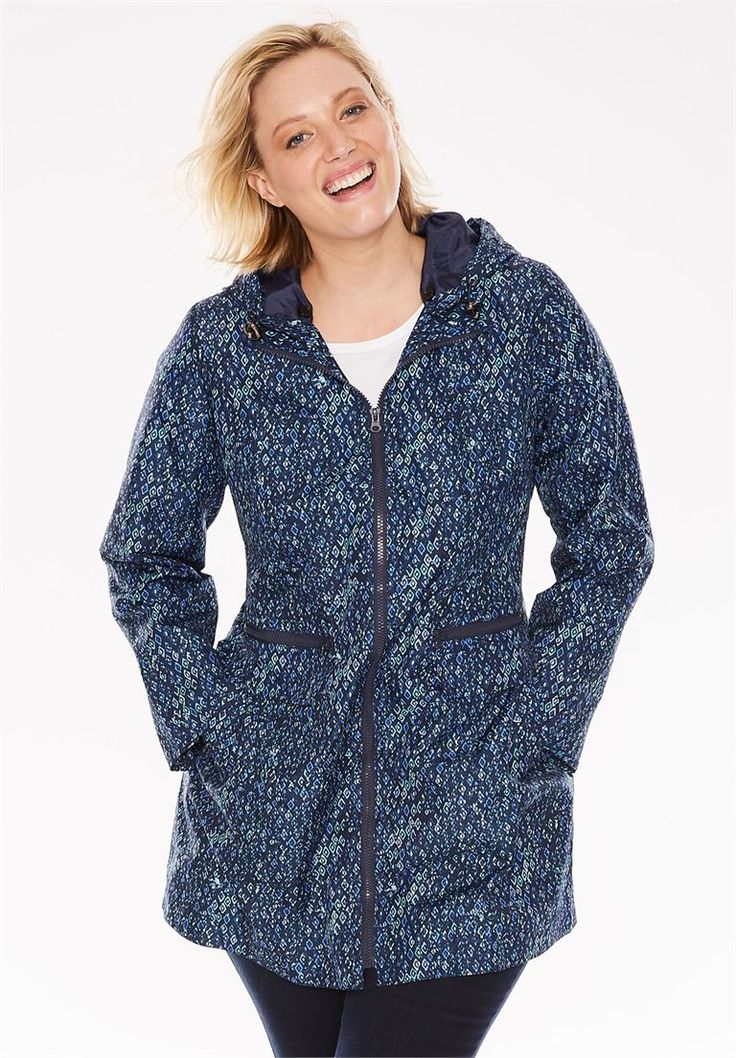 Zip-front packable rain jacket | Woman Within