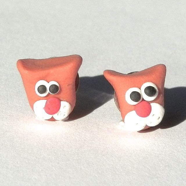 Cat Earrings: handmade from polymer clay. Available to purchase from Breeze Creations on Madeit