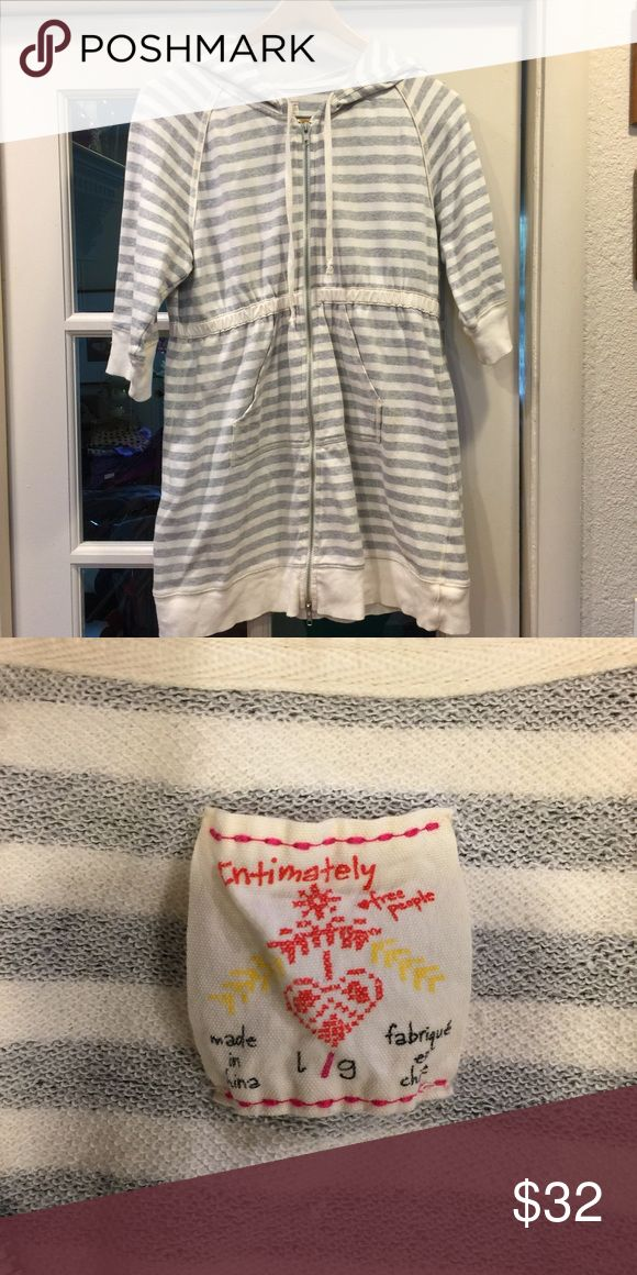 Free People Intimately Striped Zip Up Hoodie Free people straight zip up hoodie with cinched waist. Gently used excellent condition no rips stains. Size large Free People Sweaters Crew & Scoop Necks