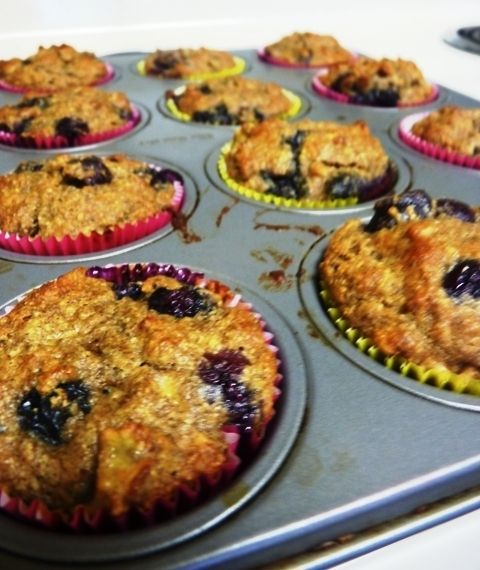 The 1st edible baked goods I've made in uh, I dunno 5 years.  Paleo Banana Berry Muffins