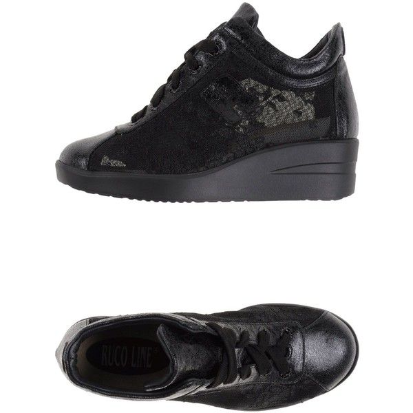 Ruco Line Sneakers ($178) ❤ liked on Polyvore featuring shoes, sneakers, black, lace shoes, black wedge trainers, black wedge shoes, wedge trainers и black wedge heel shoes