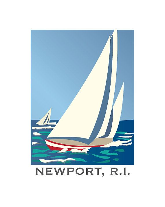 8 X 10 Newport RI Sailboats Nautical Digital Print Retro
