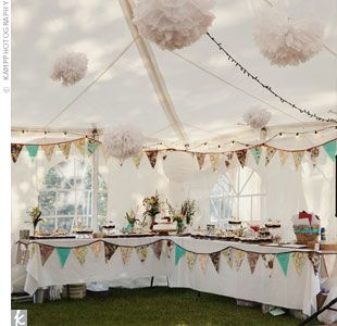 How to soften and personalises the marquee to this theme... * I like the pennants on the table ... If the trees don't work, we could do this...