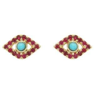 Sydney Evan Ruby and Turquoise Evil Eye Stud Earrings