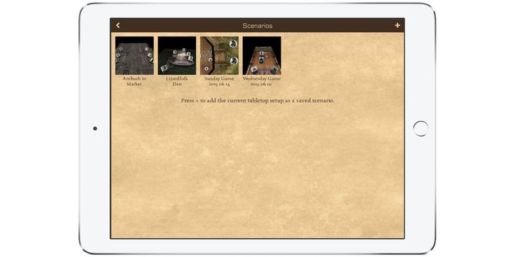 Loading and saving of Scenarios in 3D Virtual Tabletop for iPad and iPhone.