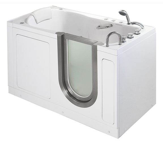 The Ella Deluxe acrylic walk in bathtubs exemplifies the standard of quality and luxury displayed throughout the entire line of Ella Walk In Bathtubs. A perfect solution for those in need of safer bathing and extra legroom, the Ella Deluxe walk in tub is sized at 55? length giving extra 3-inches over 52-inch long Ella Elite standard size model.