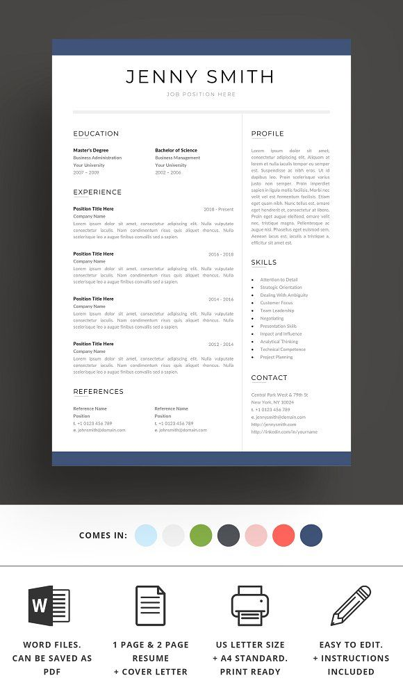 Resume #Template #Word Modern #Clean #CV - Resumes Best Resume
