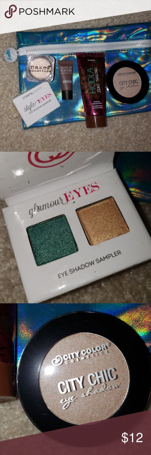 ipsy bag with freebies! includes 4 eyeshadows and a sample